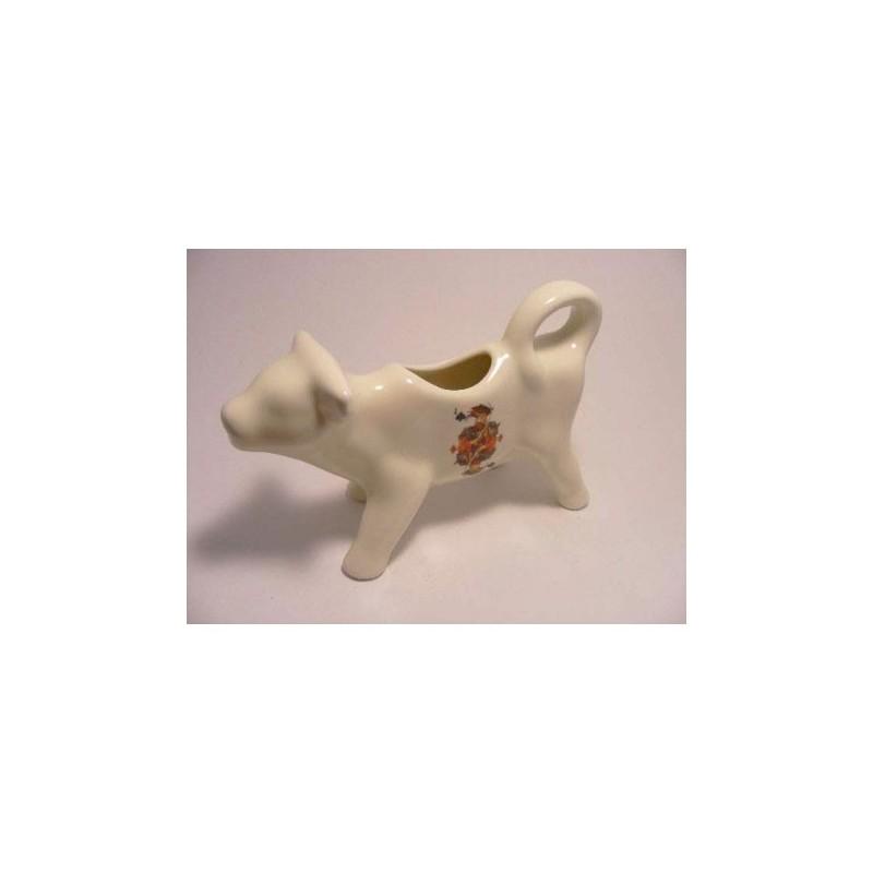 Melkkan koe van porselein met speelkaarten schoppen koning opdruk