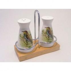 Pepper and salt set european bee-eater bird