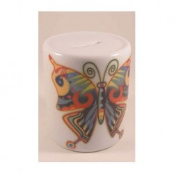 Money box with cap of hotel porcelain with a butterfly print