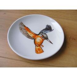 Ijsvogel afbeelding op een geribbeld wandbord