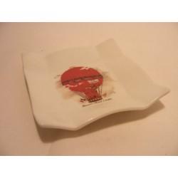 Vierkant schaaltje van porselein voor je theezakje, amuse met een luchtballon afbeelding