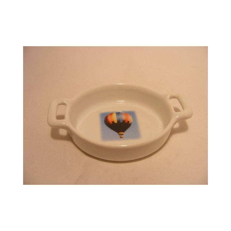 Ovaal schaaltje van porselein voor je theezakje, amuse met een luchtballon afbeelding nr5