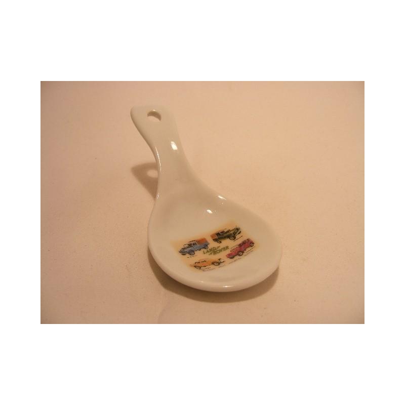 Lepel vorm schaaltje van porselein voor je theezakje, amuse met een 4 x4 afbeelding