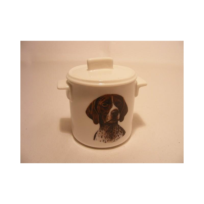 Suikerpotje van porselein met een German Shorthaired Pointer hond afbeelding