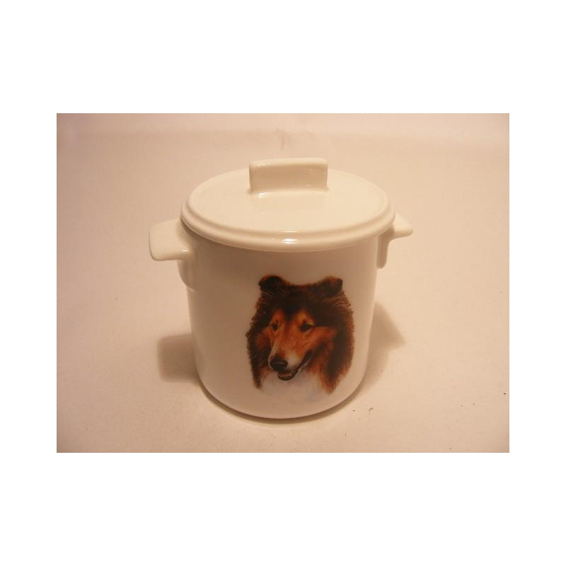 Suikerpotje van porselein met een Collie hond afbeelding