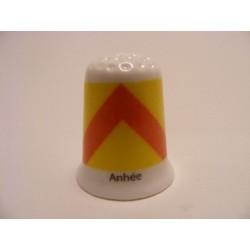 Anhée vlag Belgie op een porselein vingerhoedje