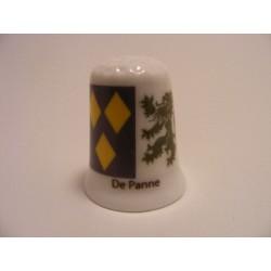 De Panne vlag Belgie op een porselein vingerhoedje