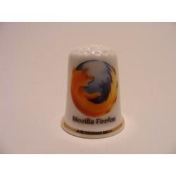 Mozilla Firefox logo op een porselein vingerhoedje met goudrandje
