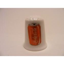 Coca Cola blikje afbeelding op een porselein vingerhoedje