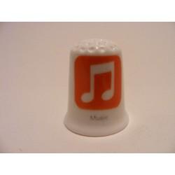 Apple icoon music afbeelding op een porselein vingerhoedje