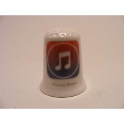 Apple icoon itunes store afbeelding op een porselein vingerhoedje