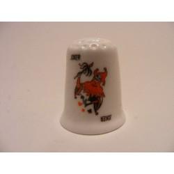 Joker zwart kaartspel op een porselein vingerhoedje