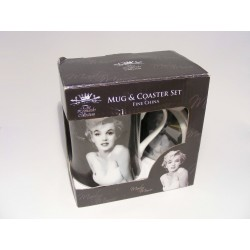 Cup with coaster with a Marilyn Monroe print The leonardo collection