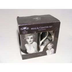 Beker met onderzetter met een Marilyn Monroe opdruk The leonardo collection